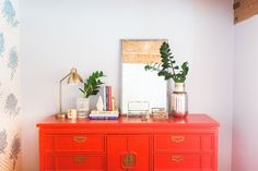 How incredible does this Asian Red Dresser look! We worked with on this piece and we love how it turned out! Red Painted Furniture, Led Furniture, Vintage Furniture, Furniture Ideas, Painting Furniture, Asian Dressers, Red Dresser, Kids Bedroom Designs, Furniture Restoration