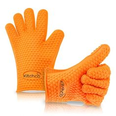 #amazon KitchCo Silicone Heat Resistant BBQ and Cooking Gloves - Directly Manage Hot Food - Orange - $14.99 (save 44%) #kitchco #patio #lawn