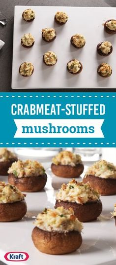 Crabmeat-Stuffed Mushrooms – Guests will be deliciously surprised when they bite into these cream cheese-stuffed mushrooms and taste the succulent crabmeat filling. Whether you're looking for an appetizer idea for game day or holiday parties, this recipe is sure to be a hit.