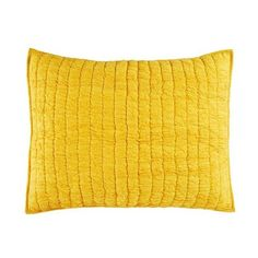 Go Lightly Quilted Sham (Yellow) ❤ liked on Polyvore featuring home, bed & bath, bedding, bed accessories, yellow shams, quilted bedding, quilted pillow shams, quilted shams and yellow pillow shams