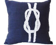 Linen Pillows- Navy Pillow Covers- Nautical Throw Pillow- Knot Pillow- Navy Blue Pillows- Beach pillows- Gift Pillows- Chair Pillows by Amore Beaute Nautical Pillow Covers, Blue Pillow Covers, Nautical Pillows, Nautical Theme, Home Design, Navy Blue Throw Pillows, Accent Pillows, Urban Outfitters, Duvet