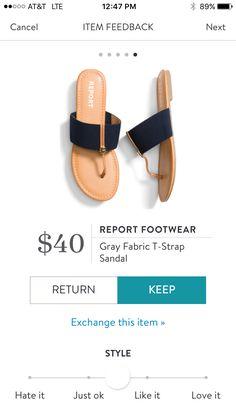Report Footwear Gray Fabric T Strap sandal #stitchfix