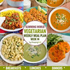 Slimming Eats Vegetarian Weekly Meal Plan - Week 14 - Slimming World Recipes - taking the work out of planning so that you can just cook and enjoy the food Slimming Eats, Slimming World Recipes, Vegetarian Weekly Meal Plan, Vegetarian Italian, Vegetarian Food, Vegetarian Sandwiches, Vegetarian Lifestyle, Going Vegetarian, Vegetarian Breakfast