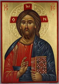 Jesus Christ Pantokrator - This is a premium quality icon made with pure 23kt gold leaf. Painted using traditional technique - egg tempera, lime wood panel with slats on the back, varnish, 23 karat gold leaf. About our icons Blessedmart offers hand-painted religious icons that follow the Russian, Greek, Byzantine and Roman Catholic traditions. We partner with