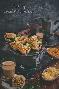Pav Bhaji Bread Katori Chaat is a delicious and fun way to enjoy Pav Bhaji. Crispy bread katori is filled with delicious bhaji & topped with all things nice Indian Snacks, Indian Food Recipes, Vegetarian Recipes, Snack Recipes, Dessert Recipes, Cooking Recipes, Mumbai Street Food, Indian Street Food, Pav Bhaji