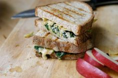 Artichoke and spinach grilled cheese sandwich! Sun-dried tomatoes would be great on this. I would exclude the yogurt and only use one cheese - maybe cream cheese or parmesan or mozzarella