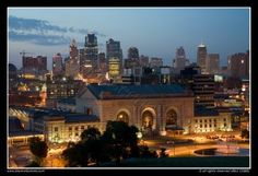 Downtown Kansas City, MO Skyline at dusk from Liberty Memorial