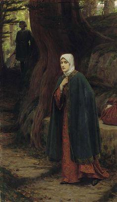 "Edmund BlairLeighton (Londres, Inglaterra, 21 de setembro de 1852- Londres, Inglaterra, 1 de setembro de 1922)_""Forest tryst"""