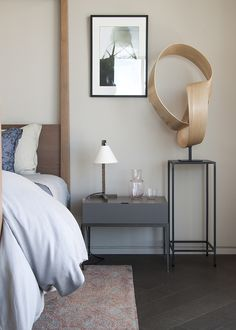 sculpture in a neutral bedroom