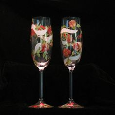 Personalized Hand Painted Rose Trellis Champagne by Artbykris, $75.00