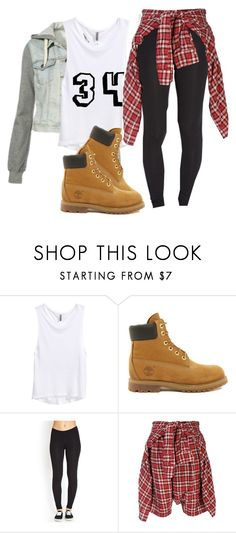 """""""KC UNDERCOVER"""" by fasionista-1154 ❤ liked on Polyvore featuring H&M, Timberland, Forever 21 and R13"""