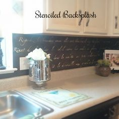Stencil your backsplash for  a simple, budget-friendly kitchen upgrade.