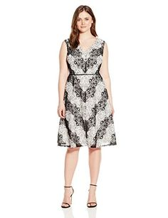 Adrianna Papell Womens Plus Size Chevron Lace Striped Dress BlackIvory 20W -- Click on the image for additional details.-It is an affiliate link to Amazon. #fashiondresses