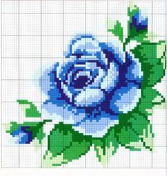 Синяя роза - схема для вышивания