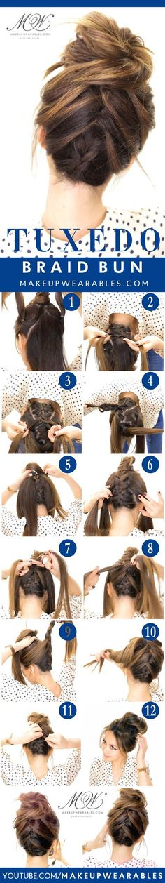 Best Hair Braiding Tutorials - Tuxedo Braid Messy Bun - Easy Step by Step Tutorials for Braids - How To Braid Fishtail, French Braids, Flower Crown, Side Braids, Cornrows, Updos - Cool Braided Hairstyles for Girls, Teens and Women - School, Day and Evening, Boho, Casual and Formal Looks http://diyprojectsforteens.com/hair-braiding-tutorials
