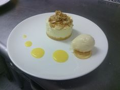 Lemon cheesecake, almond crumble, lemon curd and lemon sorbet