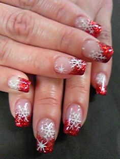 ok i'm not a fancy nail girl-how about using this same concept on a glass Christmas ball-red glittered top-and white stenciled snowflakes all over-should be pretty when on a tree in front of a light