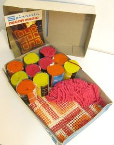 Latch Hook Kit- oh those little precut yarn things! And then we started precutting our own latch hook yarn pieces. My Childhood Memories, Childhood Toys, Great Memories, Vintage Toys, Retro Vintage, Nostalgia, Latch Hook Rugs, 80s Kids, Ol Days