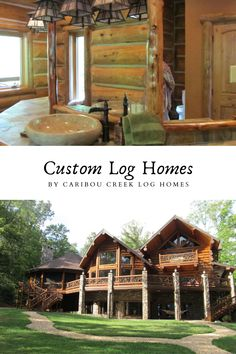 Check out our blog with some of our best custom log homes. Images filled with rustic decor ideas, handcrafted staircases, and beautiful log home inspiration. #Cariboucreekloghomes #customloghomebuilder #handcraftedloghomes