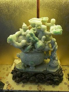 Beautiful antique hand-carved jade lamp.