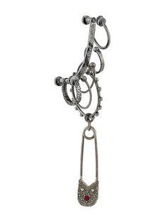 Shop Alexander McQueen safety pin cuff earring.