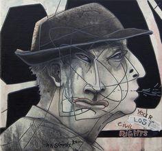 "Robert Slingsby ""Lost civil rights"" Mug Shots, Civil Rights, Artist Art, Civilization, Masks, Mixed Media, Joker, Lost, Portraits"