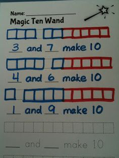 Math Coach's Corner: The Ten Wand--for K, I'd have as mixed bowl of red and blue unifix cubes (or any 2 colors). Kids use a scoop or serving spoon to put 10 on their workmat, then sort, snap cubes together by color to discover how they made 10.