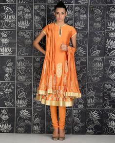 Monarch Orange Anarkali Suit with Block Printed Paisleys