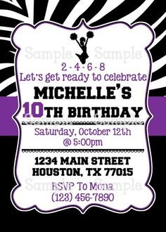 Printable Cheerleader Silhouette Personalized Birthday Invitation | aMerAZNStyLe - Digital Art  on ArtFire