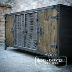 Carnegie media console, all handmade in the USA. #madeinusa #modernindustrialfurniture #industrialfurniture