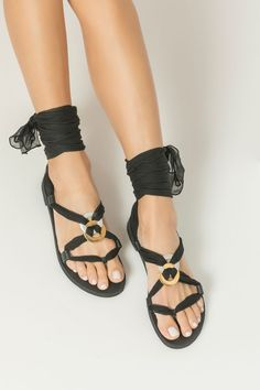 Fully Customizable Gladiators for Women. Choose scarf laces from 15 colors, leather footbed from 6 colors and silver or 24k gold plated embellishments! Eleftheria boho sandals are handmade in Greece of premium leather and silk laces which are knotted with both silver & gold plated embellishments that elegantly frame your feet. Once you wind up the airy laces around your ankle they'll stay secure on your feet and make you feel almost barefoot. They are the chic flats you were searching for. White Sandals, Lace Up Sandals, Gold Wedding Shoes, Bohemian Sandals, Bridal Sandals, Cow Leather, Black Leather, Leather Gladiator Sandals, Bride Shoes