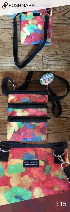 Sweetz-A-Riffic crossbody,NWT,gummy bears print Gummy bear print heavy nylon cross body bag with webbing trim,NWT Sweetz-A-Riffic Accessories Bags