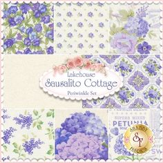 Sausalito Cottage Periwinkle 8 FQ Set by Lakehouse Dry Goods - Holly Holderman: Sausalito Cottage is a bright floral collection by Holly Holderman for Lakehouse Dry Goods.