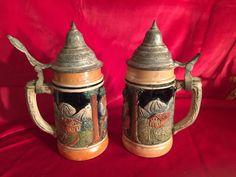 A Pair of Vintage Steins Made in West Germany; 1940s Steins; Beer Steins; by Pamsplunder on Etsy