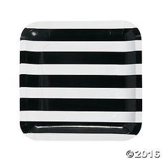 Black & White Striped Dinner Plates - paper  $9.99/25  oriental trading