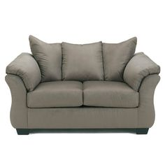 This cobblestone loveseat features cushioned armrests that gently curve in and back cushions that curve forward near the sides. The plush loveseat includes cushions with cores constructed of low melt fiber wrapped over high quality foam.