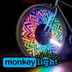 A fun and highly visible addition to traditional bike lights, the MonkeyLectric Monkey Light bike wheel light brightens up your spinning wheels with fun patterns of complex digital light. Bicycle Spokes, Bicycle Wheel, Pimp Your Bike, Digital Light, Bicycle Lights, Bike Light, Bicycle Accessories, Nocturne, Tail Light
