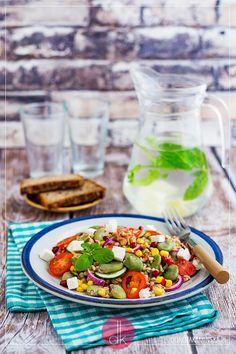 Sałatka z bobem, kolorowa i zdrowa, a do tego jaka apetyczna i pożywna! #bób #przepis #jedzenie #kuchnia #gotowanie #sałatka