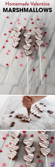 Homemade marshmallows are a great treat for Valentine's Day, and with these cute marshmallow pops, you can make a sweet treat for all those you hold near and dear! Dipped and decorated with Light Cocoa Candy Melts candy, these marshmallow treats also make great edible favors for weddings, showers, birthday parties and much more.