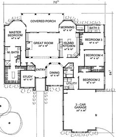 East facing garage. I'd prefer the master on the east side instead. Good use of space, could the Patio be moved to be more east facing?  The Denton House Plan