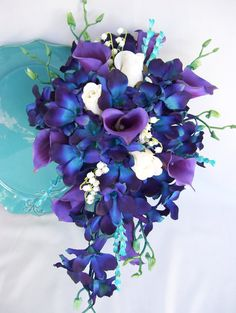 Jade's Cascade Bridal Bouquet with Wispy Turquoise Accents Purple Picasso Calla Lilies Blue Orchids Dendrobium Orchids - Modern Cascading Bridal Bouquets, Bridal Bouquet Blue, Wedding Bouquets, Wedding Flowers, Cascading Flowers, Prom Flowers, Peacock Wedding, Wedding Colors, Blue Orchid Bouquet