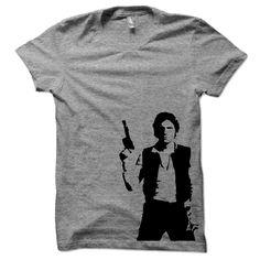 Han Solo Shirt Star Wars Womens Hand Printed Onto A Grey Cotton American Apparel T-Shirt.