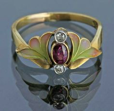 "GABRIELLE'S AMAZING FANTASY CLOSET | Art Nouveau Ruby, Diamond and Enamel Gold Ring ""Such a beautiful ring."""
