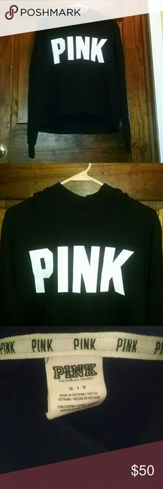 "Victoria's Secret Pink COWL-NECK PULLOVER Hoodie S Victoria's Secret Pink COWL-NECK PULLOVER Hoodie  Size Small Black with PINK in White letters  Approx. Measurements  26"" Shoulder to Shoulder 25"" Armpit to armpit 22"" Total length from top to bottom of Hoodie  Worn & laundered once. Like New! PINK Victoria's Secret Tops Sweatshirts & Hoodies"