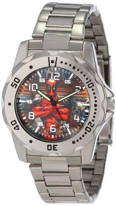 Marvel Comics Men's MA0710-D22-Bracelet Marvel 'Deadpool' Defender Watch -- #NoveltyWatchesGiftIdeas