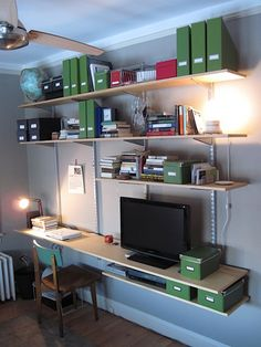 How to build your own modular shelf / desk / entertainment center system using ClosetMaid components + wooden shelves