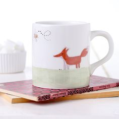 Fox and Rabbit Being Friends on a Mug