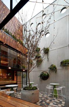 Prahran Hotel, Melbourne by Techné Architects Hotel Melbourne, Architects Melbourne, Melbourne Restaurants, Melbourne Australia, Vic Australia, Restaurant Seating, Hotel Restaurant, Outdoor Restaurant, Industrial Bedroom