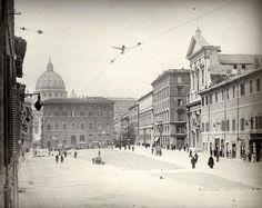 Via della Conciliazione (ante 1937) La Basilica di San Pietro ancora in parte nascosta dal Palazzo dei Convertendi.
