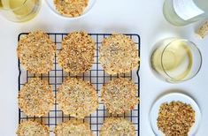 All you need is a few simple ingredients and 15 minutes for crunchy cheese crisps studded with garlic, sesame seeds, poppy seeds and more.